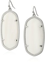 """Kendra Scott Signature"""" Danielle Rhodium plated White Mother-of-Pearl Drop Earrings"""