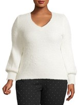 No Boundaries Juniors' Plus Size Super Soft V-Neck Eyelash Sweater
