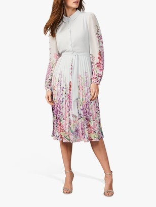 Phase Eight Rachie Floral Print Pleated Midi Dress, Seafoam/Multi