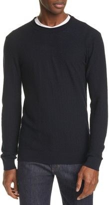 Giorgio Armani Slim Fit Chevron Stitch Wool Sweater