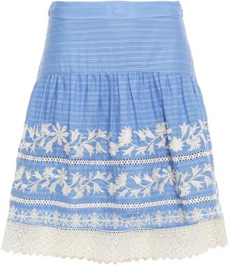 Tory Burch Leigh Lace-trimmed Embroidered Striped Cotton Skirt