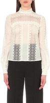 Self-Portrait Balloon-sleeve lace panel top
