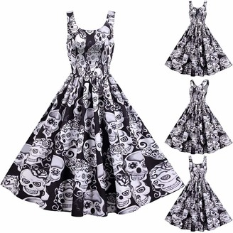 Baodan 2020 Women Halloween Dress 1950s Vintage Dress Ghost & Skeleton & Witch & Pumpkin Printed Rockabilly Dresses Suspender Skirt Flare Midi Dress A-line Pleated Cosplay Swing Cocktail Party Dress Gothic