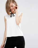 Asos Sleeveless Top with Contrast Tie in Ponte