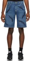 Moschino Blue Denim Scars Shorts