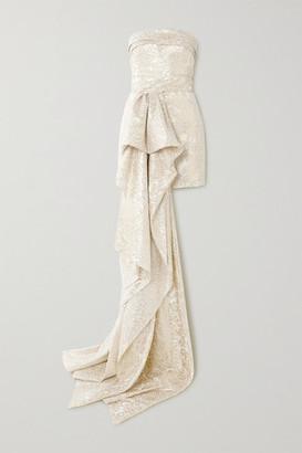 Reem Acra Draped Metallic Silk-blend Brocade Mini Dress - Gold