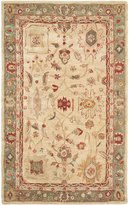 Safavieh Anatolia Collection AN511A Handmade Beige and Green Wool Area Rug, 4 feet by 6 feet