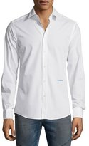 Just Cavalli Long-Sleeve Woven Sport Shirt, White