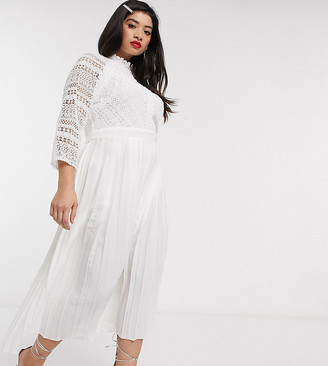 Little Mistress Plus lace detail midaxi dress in white