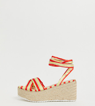 Glamorous Wide Fit red striped tie up espadrille sandals