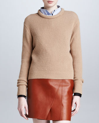 3.1 Phillip Lim Roll-Neck Cropped Pullover, Camel