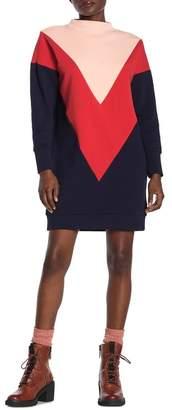 Scotch & Soda Colorblock Turtleneck Sweater Dress