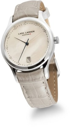 Lars Larsen Clara Women's Quartz Watch with Mother of Pearl Dial Analogue Display and White Leather Strap 139SMPL
