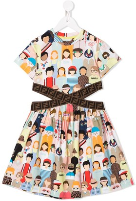 Fendi DG Friends cut-out dress