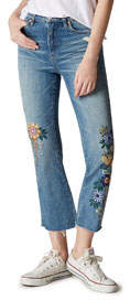 Blank NYC Floral Embroidered Kick Flare Cropped Jeans