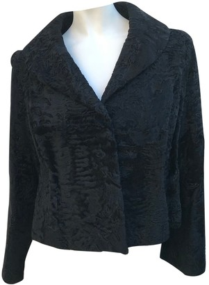 Astrakhan Non Signe / Unsigned Black Leather Jacket for Women