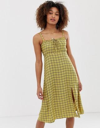 Hollister babydoll midi dress in check-Yellow