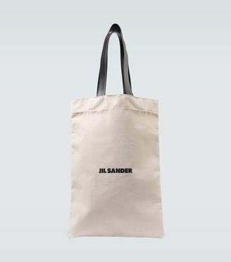 Jil Sander Grand logo flat shopper bag