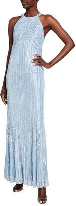 Jenny Packham Ila Sequin-Striped Halter-Neck Gown