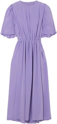 pushBUTTON Cape-effect Silk Crepe De Chine Midi Dress