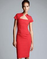 Roland Mouret Myrtha Folded Sheath Dress, Red
