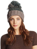 Aqua Marled Knit Beanie with Oversized Pompom