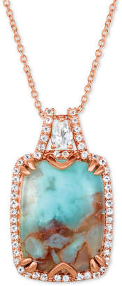 "LeVian Le Vian Sky Aquaprase (16 x 12mm) & White Topaz (3/8 ct. t.w.) 18"" Pendant Necklace in 14k Rose Gold"