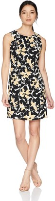 Kasper Women's Petite Sleeveless Jewel Neck Floral Printed Dress