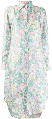 Thom Browne Sunny Floral Multi Print Classic Long Sleeve Shirtdress