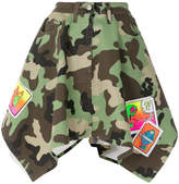 Jeremy Scott camouflage asymmetric hem skirt with patches