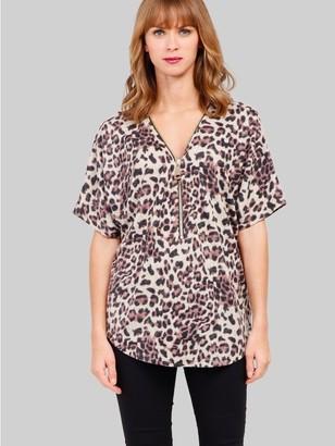 M&Co Izabel leopard print zip front top