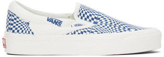 Vans Blue and Off-White Check OG Classic Slip-On LX Sneakers