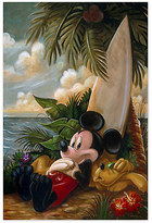 Disney Mickey Mouse and Pluto ''Sundown Surfer Mickey Mouse'' Giclée by Darren Wilson