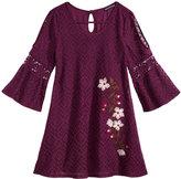 Sequin Hearts Floral-Embroidered Cold-Shoulder Lace Dress, Big Girls (7-16)