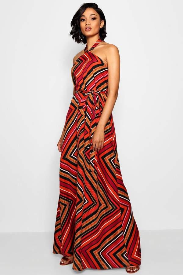 boohoo Tall Halter Twist Belted Maxi Dress