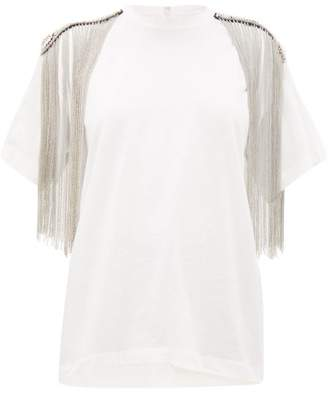 Christopher Kane Embellished Shoulders Cotton-jersey T-shirt - Womens - White