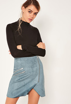 Missguided Blue Faux Suede Zip Detail Asymmetric Skirt