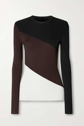 Peter Do Color-block Ribbed-knit Sweater - Black