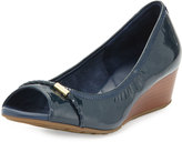 Cole Haan Tali Open-Toe Leather Wedge Pump, Blazer Blue