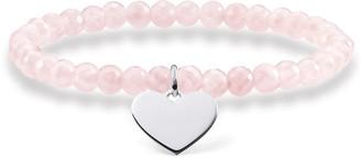 Thomas Sabo Pink Heart Rose Quartz Bracelet of Length 16.5cm