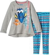 Disney Pixar Finding Dory Nemo Girls 4-6x High-Low Glitter Tee & Printed Leggings Set