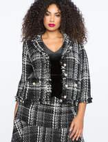 ELOQUII Tweed Frayed Hem Jacket