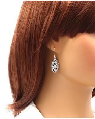 Devata Bali Filigree Drop Dangle Earrings in Sterling Silver and Black Spinel