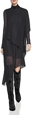 BCBGMAXAZRIA Asymmetric Tiered Turtleneck Dress