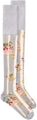 Simone Rocha Floral Print Over-The-Knee Socks