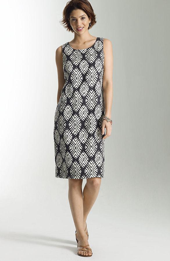J. Jill Woodblock diamond linen dress