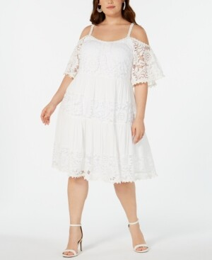 Robbie Bee Plus Size Lace Fit-and-Flare Dress