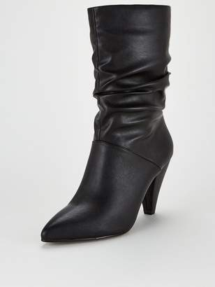 Very Rapid Cone Heel Slouch Calf Boots - Black