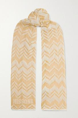 Missoni Metallic Crochet-knit Scarf - Gold
