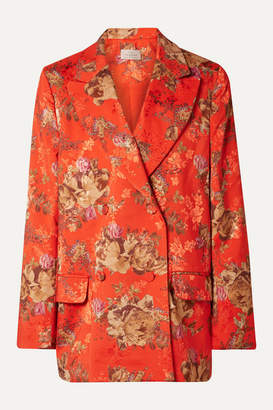 Preen by Thornton Bregazzi Gillian Oversized Floral-print Satin-jacquard Blazer - Tomato red